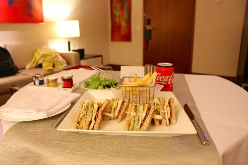 Dining - Club Sandwich from room service